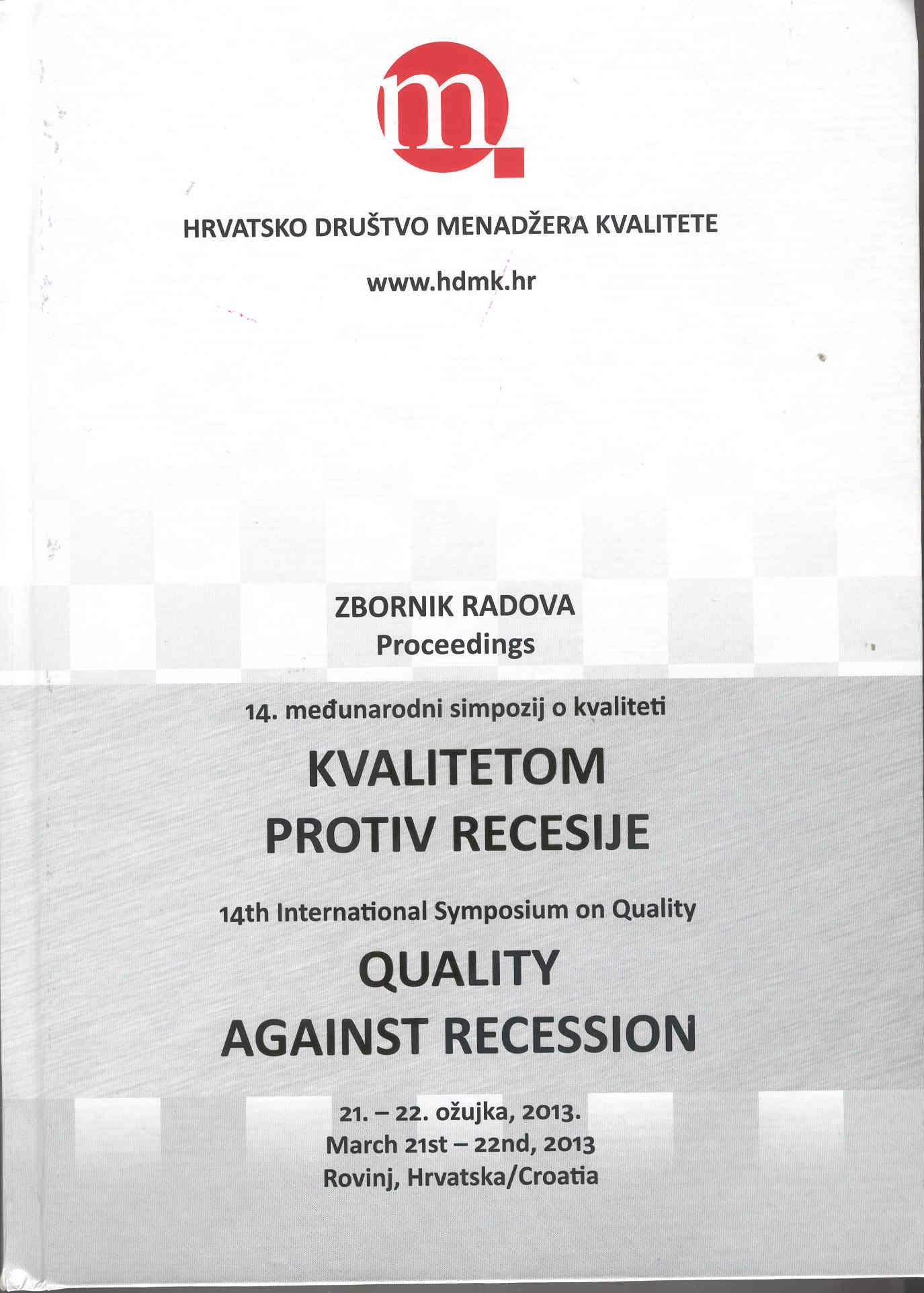 KVALITETOM PROTIV RECESIJE, zbornik radova